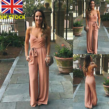 Women V Neck Sling Backless Jumpsuit Romper Long Wide Leg Pants Chiffon Trousers