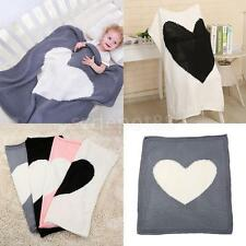 Infant Baby Heart Knitting Wool Shawl Blanket Crocheted Sofa Beach Quilt Rug