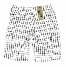 NEW LEVI'S MEN'S PREMIUM COTTON RELAXED FIT CARGO SHORTS WHITE PLAID 124630184