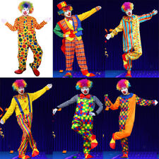 Funny Circus Clown Costume Cosplay Party Adult Fancy Dress Mens Jumpsuit Set