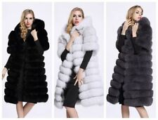 Women Hooded Warm Long Gilet Outwear Faux Fur Winter Overcoat Jacket Coat