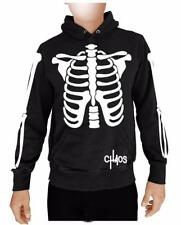 NW MEN'S SKULL SKELETON FUNNY HALLOWEEN PULLOVER HOODIE JACKET BLACK SWEATSHIRTS