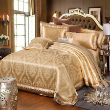 4pc. Luxury Golden Silk Cotton Jacquard Embroidered Duvet Cover Bedding Set