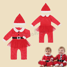 Baby Holloween Cosplay Boy Girl Santa Claus Outfit Romper Costume Hat Cloth Set