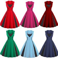 UK Women's 1950s Vintage Style Rockabilly Cocktail Party Swing Dress Plus Size