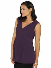 Maternity Crossover Soft Pleated Dressy Nursing Top - Purple