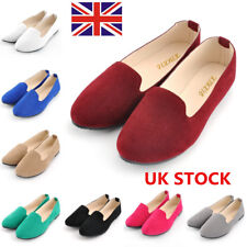 Women Flat Slip-On Boat Shoes Casual Ballet Dolly Work Faux Suede Loafer Shoes