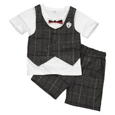 Summer Baby Boys Plaid Outfits Short Sleeve T-shirt Tops Shorts 2Pcs Set Clothes