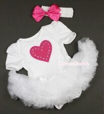 Pure White Jumpsuit Romper Hot Pink Heart & White Baby Girl Dress NB-12Month