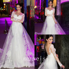 Mermaid Wedding Dress Long Sleeve Lace White Bridal Gowns Long Train Custom Size