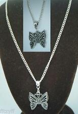 "18"" or 24"" Inch Chain Necklace & Butterfly Pendant Beautiful Charm Gift Sovenir"