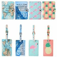 Fashion Womens PU Leather Travel Floral Passport Cover Wallet Set Luggage Tag
