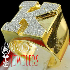 Mens Big Bold 10K Yellow Gold On Real Silver Initial Letter K Simu Diamond Ring
