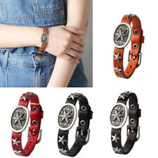 Stars PU Leather Cuff Bracelet Adjustable Wristband Men Women Bangle Fashion