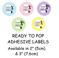 BABY SHOWER Ready to Pop Self Adhesive Glossy Labels/Stickers Personalised