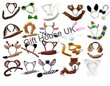 ANIMAL EARS TAIL BOW COSTUME SET ACCESSORY PARTY KIDS ADULTS FANCY DRESS KIT NEW