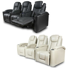 Electric Recliner Cool LED Light USB Chair Lounge Leather 3 Seater Home Theater