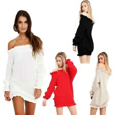 New Womens Off-Shoulder Mini Tunic Dress Frill Neck Bardot Knitted Jumper Top
