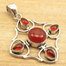 925 Silver Plated 4 Gemstone Artisan Deco Pendant ! Women's Jewelry