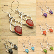 925 Silver Plated Natural Gemstones KNOT Earrings, Handmade Jewelry