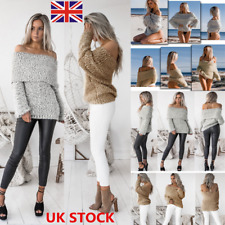 Women Off Shoulder Jumper Sweater Long Sleeve Lapel Pullover Loose Knitted Tops