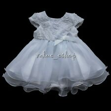 White 3D Rose Flower Girls Princess Tutu Fancy Baby Wedding Party Pageant Dress