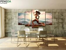 Girl Running Sunshine Painting Modern Abstract Poster Canvas Wall Art Home Decor