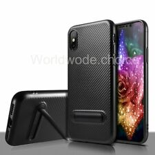 For Apple iPhone X Case Carbon Fiber KICKSTAND TPU Thin Slim Luxury Back Cover
