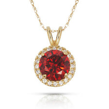 Round Halo Tourmaline Lab Diamond Pendant Necklace 14K Solid Yellow Gold 1.25ct.