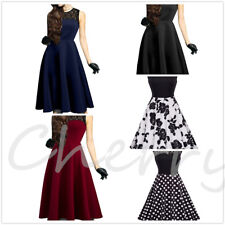 Ladies Lace Retro Pinup Dresses Sleeveless Floral Pleated Rockabilly Swing Dress