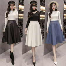 Women Skater Midi Skirts Faux Leather PU High Waist Solid Pleated A-line Flared