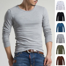 Men Crew Neck Basic Tee Long Sleeve T-Shirt Slim Fit Casual Solid Color S-4XL