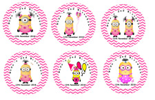 Personalised MINION pink Self Adhesive Glossy Labels/Stickers