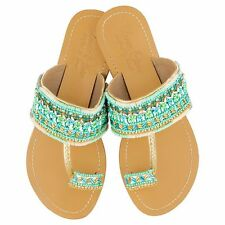 NEW Girls' leather sandals in blue/green Girl's by Annie Clare