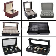PU Leather Watch Case Display Box Travel Case 1/2/5/6/9/10/12 Slot Luxury