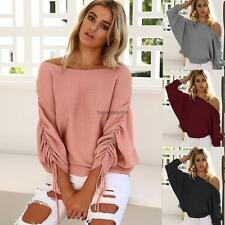 Women Off Shoulder Elastic Ruched Batwing Long Sleeve Solid Knitted SO6H