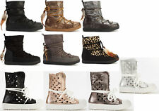 WOMENS LADIES ANKLE MID CALF SNOW BOOTS WINTER WARM FLAT LACE SOFT SHOES SIZE