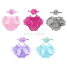 Infant Baby Girl Ruffle Bowknot Tulle Bloomers Briefs Diaper Flower Headband Set
