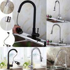 "18"" Pull Out Handle Spray Mixer Tap Kitchen Brushed Nickel Sink Faucet -One Hole"