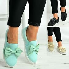 New Womens Trainers Ladies Slip On Flat Bow Sneakers Pumps Comfy Shoes Size Uk
