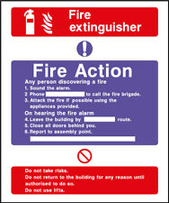 Fire Action Safety Sign – Fire Extinguisher - plastic & sticker options