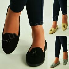 New Womens Tassel Loafers Slip On Casual Ballerina Pumps Flat Shoes Size Uk 3-8