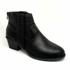 Women's Black Color Faux Leather Short Boot with Textured Detail