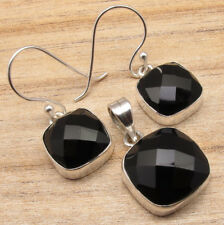 925 Silver Plated Earrings & Pendant SET, Authentic Gemstone Jewelry