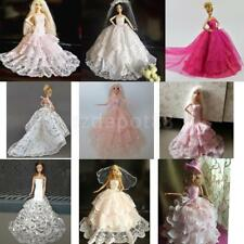 Fairy Doll Gown Lace Clothes For Barbie Doll Bridal Tulle Dress Up Party Costume