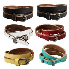 Multicolor Leather Bracelet Bangle Multilayer Fashion Women Men Wristband