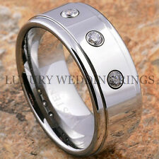 Men's Tungsten Ring 9mm Wedding Band Cubic Zirconia Polished Shiny Size 6-13 LWR