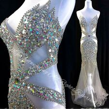 NWT GORGEOUS Evening Dress Sheer Prom Pageant Crystals Sexy Dress RHINESTONES