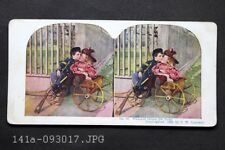 Antique Stereoview Photo 1898 Little Boy Union Soldier Kissing Girl in Wagon