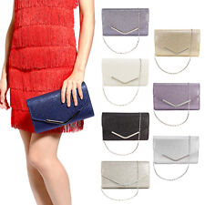 Metal-Tipped Purse Sparkle Glittered Envelope Clutch Bag Bridal Prom Party Purse